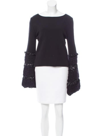 Valentino Satin-Trimmed Bell Sleeve Sweater None