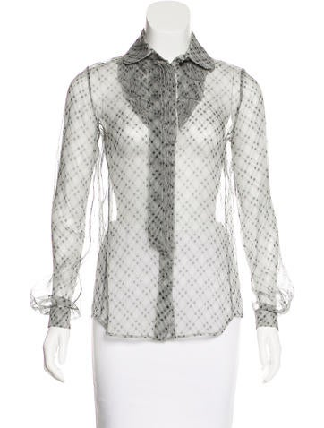 Valentino Sheer Button-Up Top None