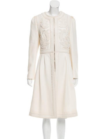 Valentino Embroidered Long Coat None