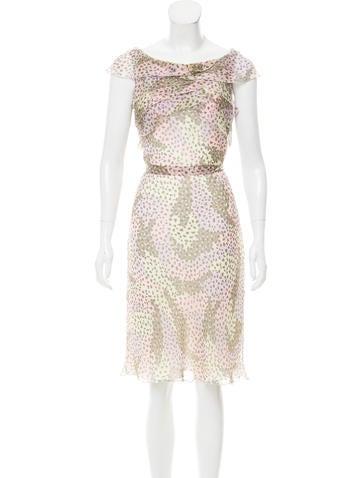 Valentino Silk Chiffon Knee-Length Dress None