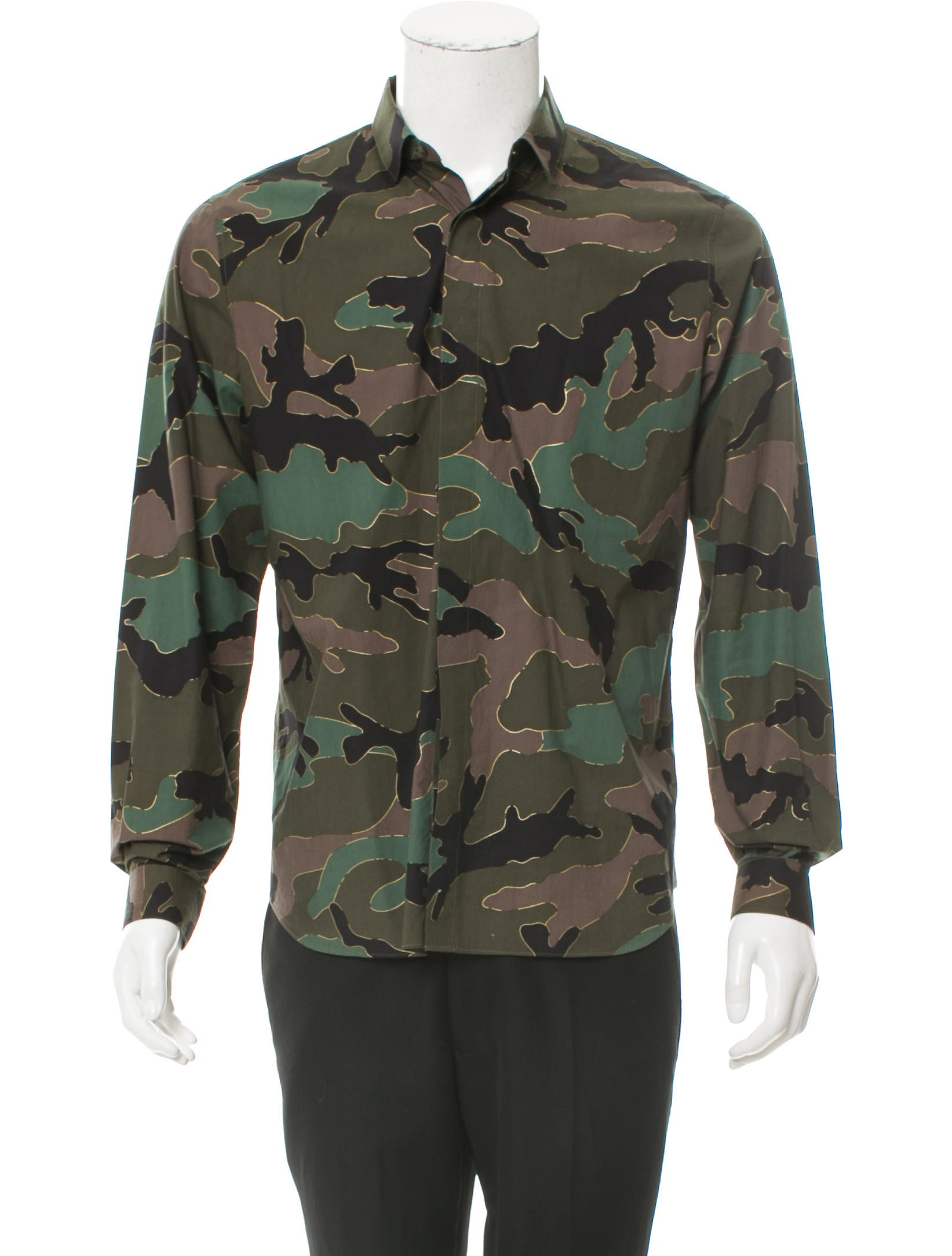 Valentino Camouflage Print Button Up Shirt Clothing