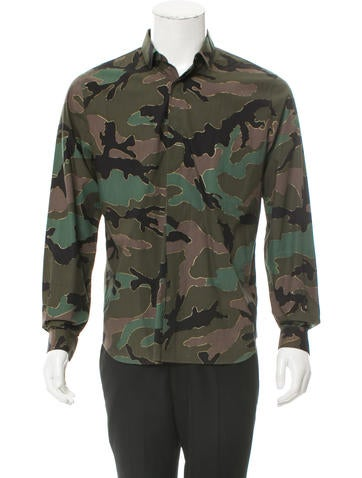 Valentino Camouflage Print Button-Up Shirt None