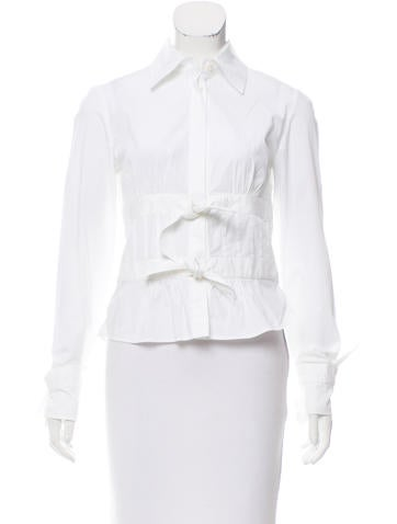 Valentino Tie-Accented Button-Up Top None