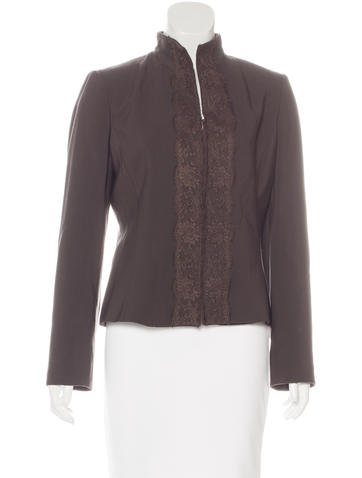 Valentino Lace-Trimmed Virgin Wool Jacket None