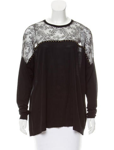 Valentino Lace-Accented Wool Top None