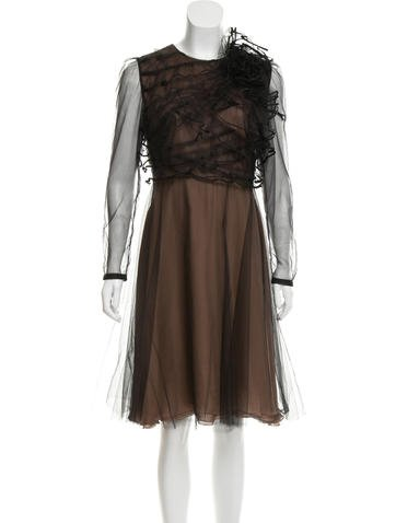 Valentino Tulle-Accented Silk Dress None