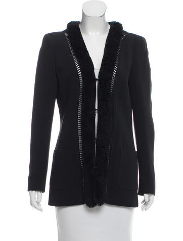 Valentino Shearling-Trimmed Long Sleeve Jacket None