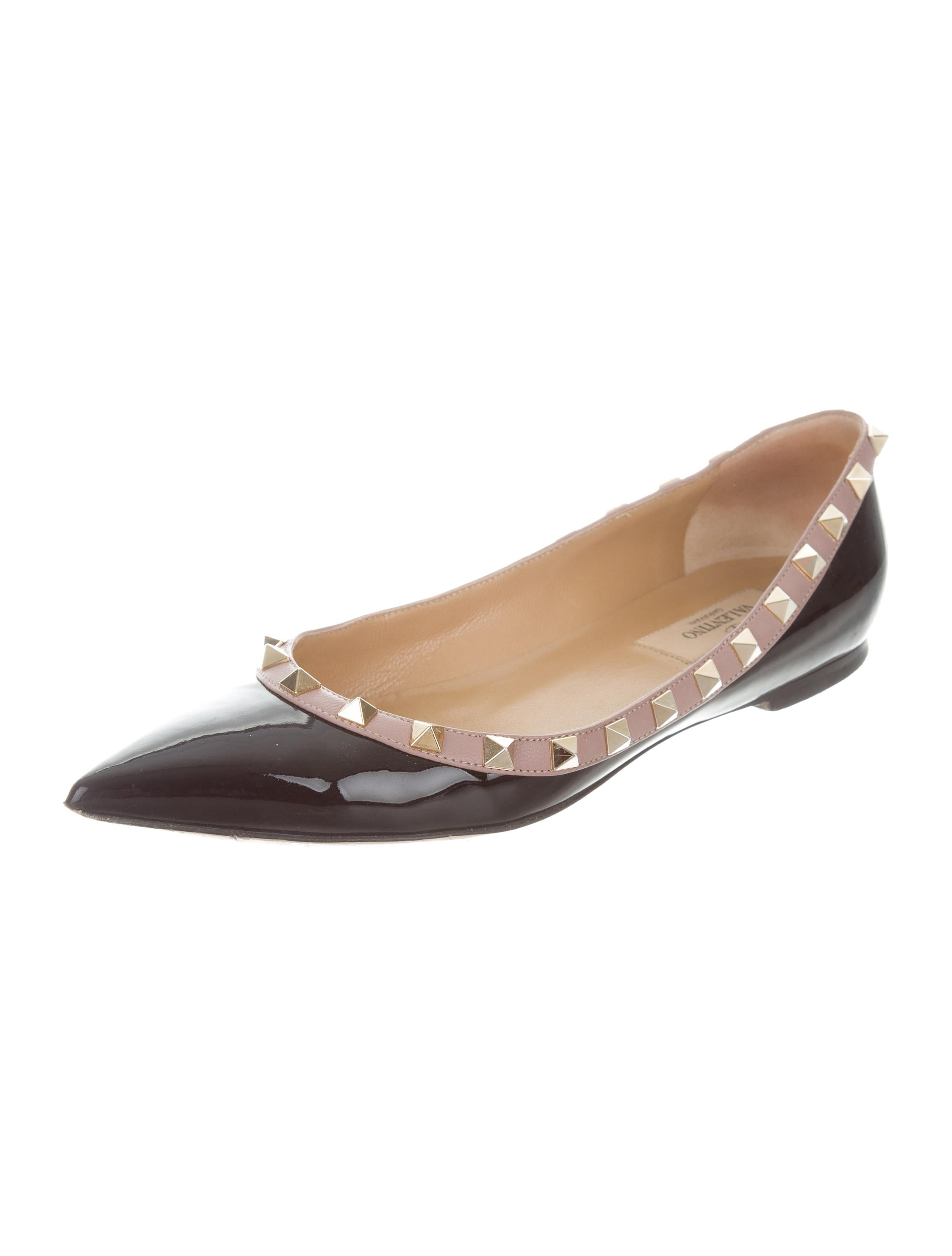 valentino rockstud patent leather flats shoes val71298