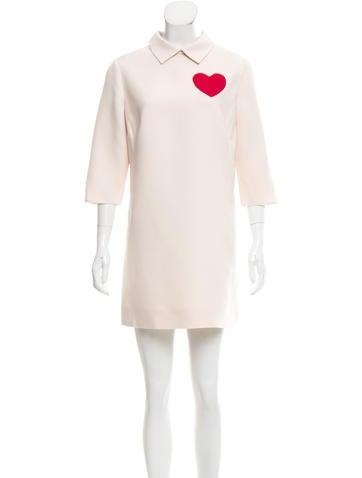 Valentino Wool-Blend Heart Dress None
