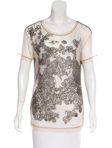 Valentino Embellished Short Sleeve Top None