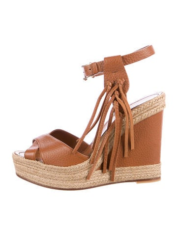 Valentino Fringed Leather Espadrille Sandals None
