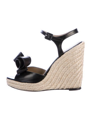Valentino Leather Bow Wedges None