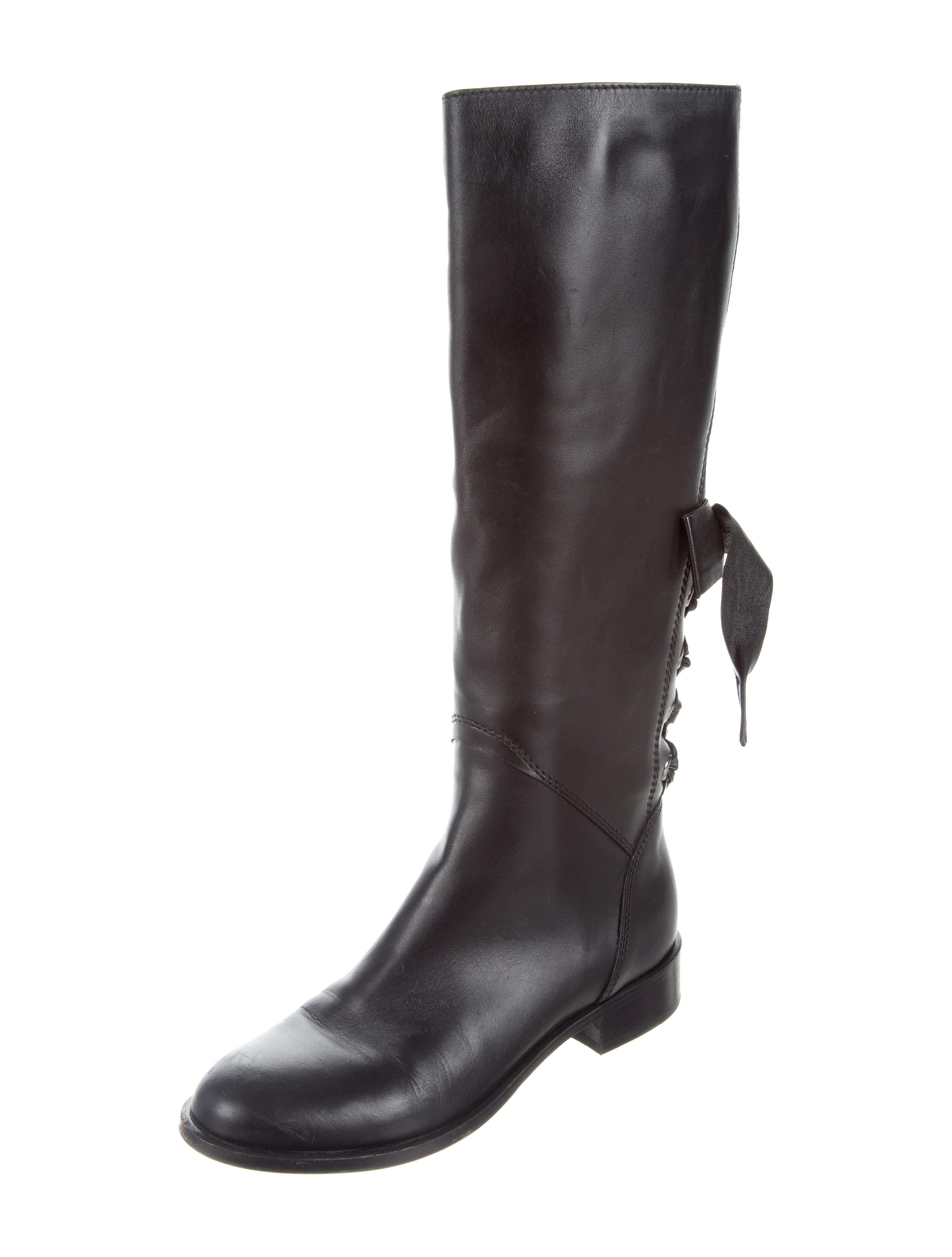 valentino leather bow accented knee high boots shoes