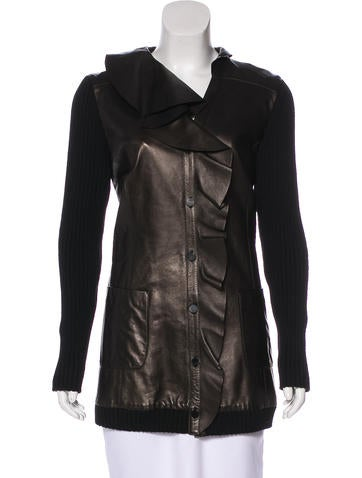 Valentino Leather-Paneled Ruffle Jacket w/ Tags None