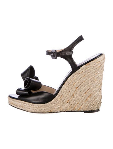 Valentino Leather Bow Espadrille Wedges None