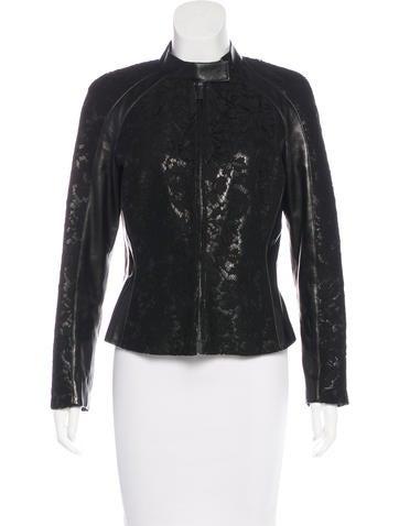 Valentino Lace-Paneled Leather Jacket None