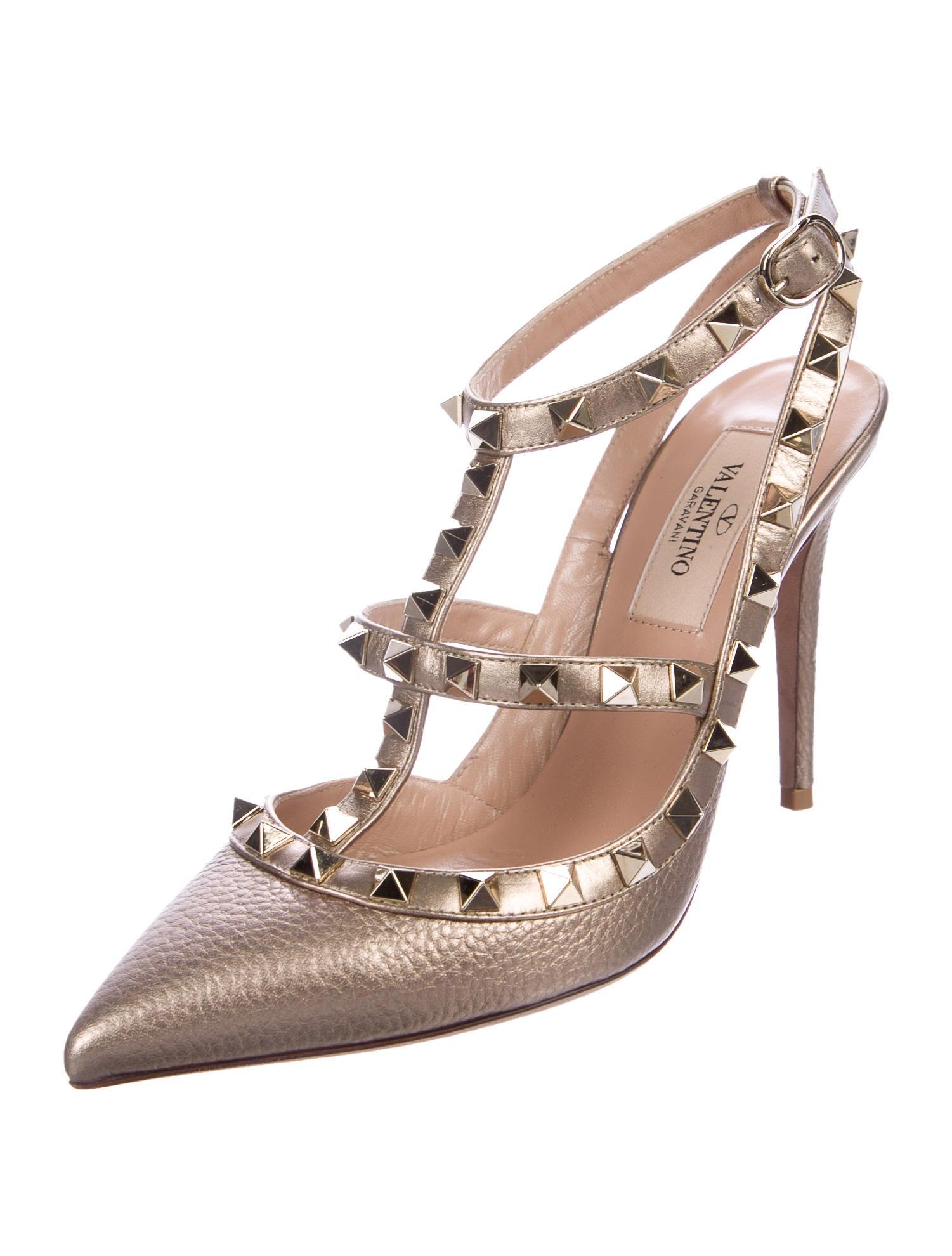 valentino metallic rockstud pumps shoes val72151 the. Black Bedroom Furniture Sets. Home Design Ideas
