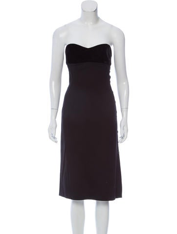 Valentino Velvet-Accented Sleeveless Dress None