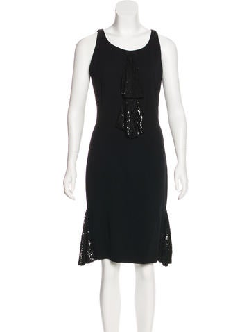 Valentino Wool Sequin-Accented Dress None
