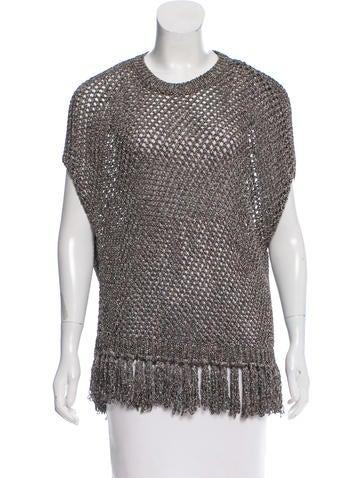 Valentino Metallic Fringe Sweater None