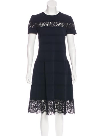 Valentino Lace-Trimmed Knit Dress w/ Tags None
