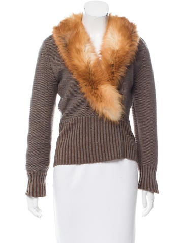 Valentino Fox Fur-Trimmed Wool Sweater None