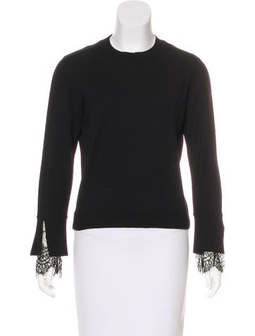 Valentino Lace-Trimmed Wool Top None