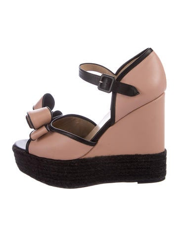 Valentino Leather Platform Wedges None