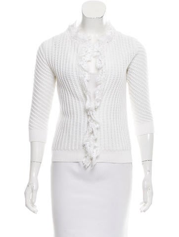 Valentino Lace-Trimmed Open Knit Cardigan None