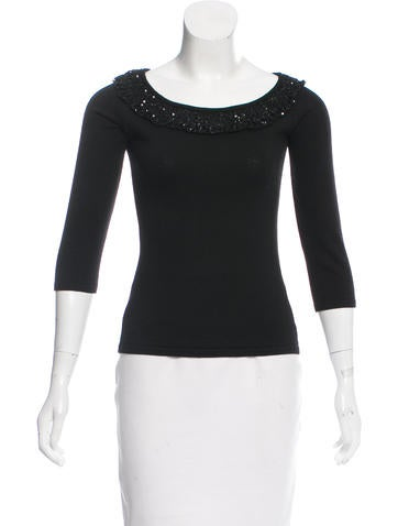 Valentino Embellished Virgin Wool Sweater None