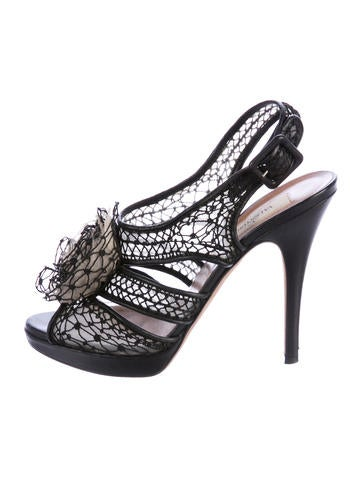 Valentino Mesh Rosette-Embellished Sandals None