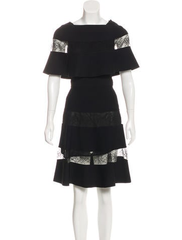 Valentino Lace-Trimmed Knit Dress None