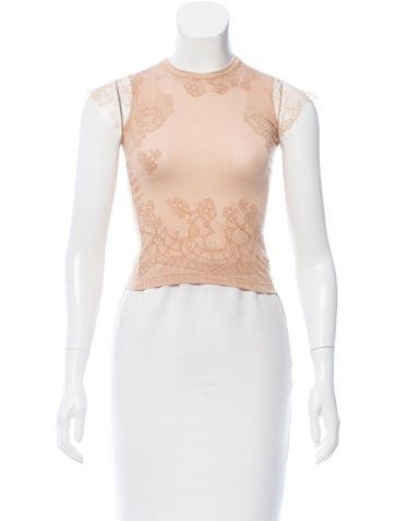 Valentino Knit Lace-Accented T-Shirt w/ Tags None