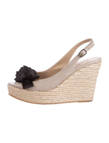 Valentino Leather Slingback Wedges None