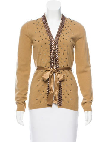 Valentino Embellished Wool Cardigan w/ Tags None