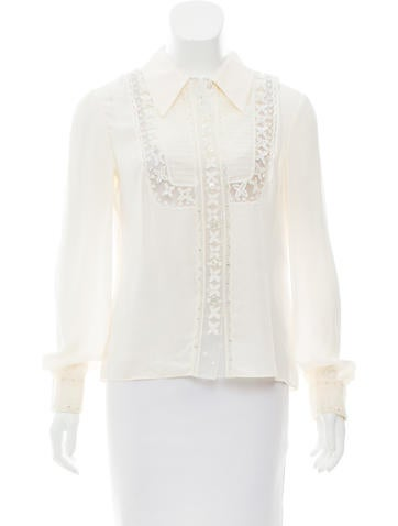 Valentino Embellished Silk Top w/ Tags None