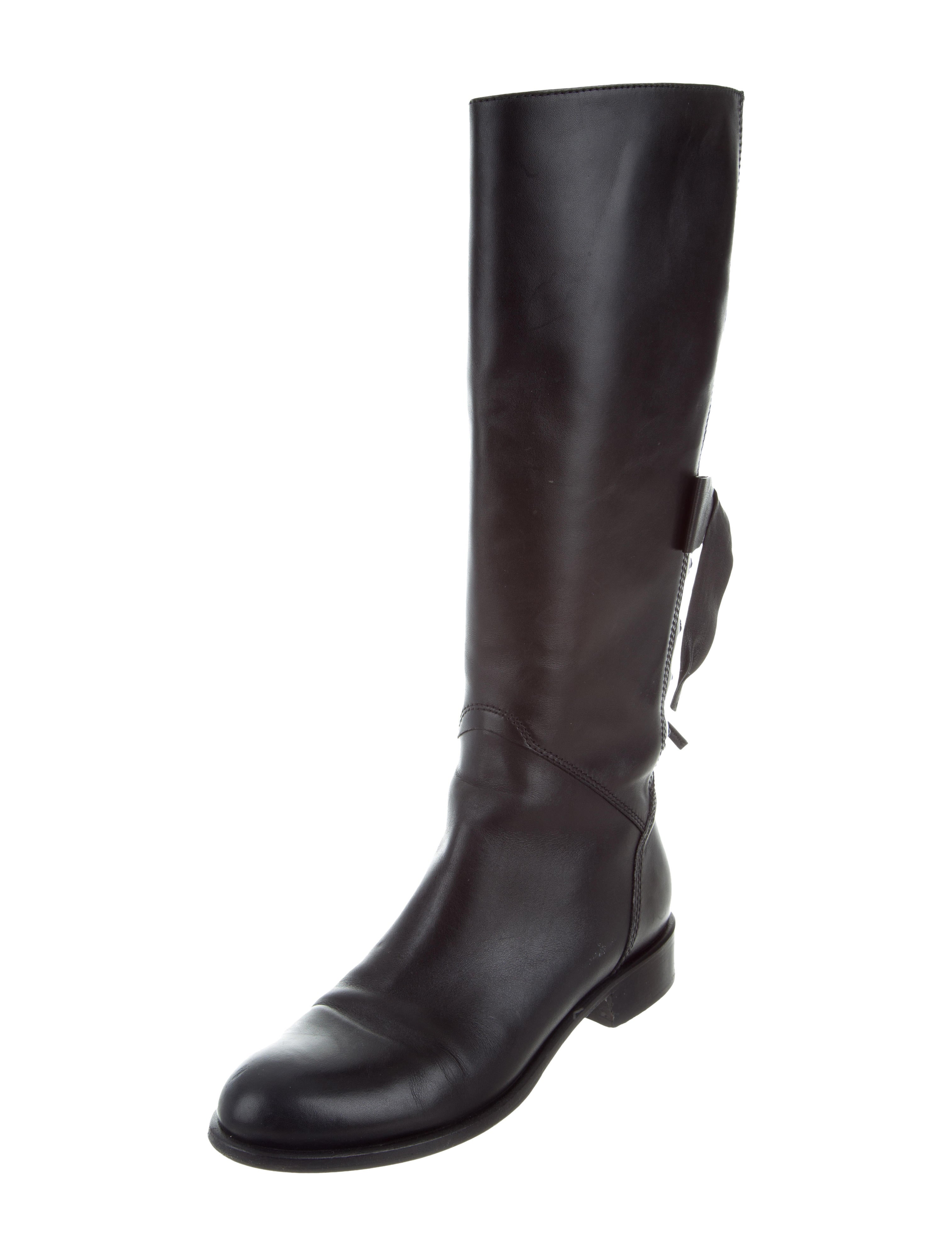 valentino bow accented knee high boots shoes val74389