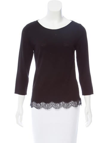 Valentino Lace Paneled Knit Top None