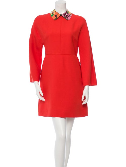 Valentino Wool A-Line Dress Red