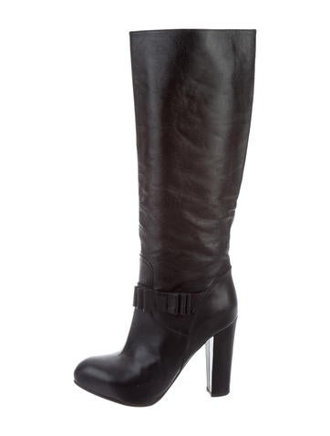 Valentino Leather Knee Boots None