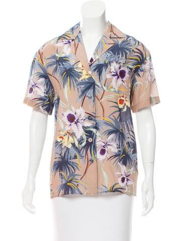 Valentino Floral Print Silk Top None