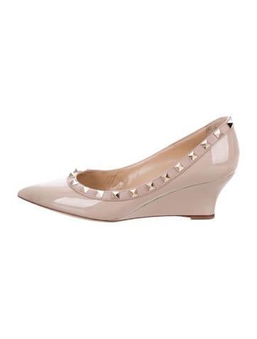 Valentino Patent Leather Rockstud Wedges None