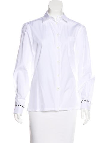Valentino Long Sleeve Button-Up Top None