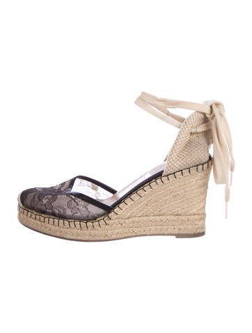 Valentino Lace Espadrille Wedges None