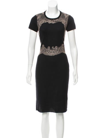 Valentino Lace-Accented Wool Dress None