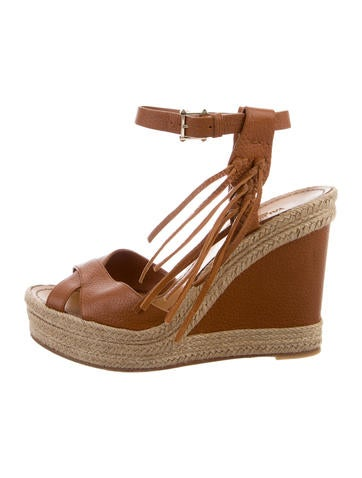 Valentino Fringed-Accented Espadrille Wedges None