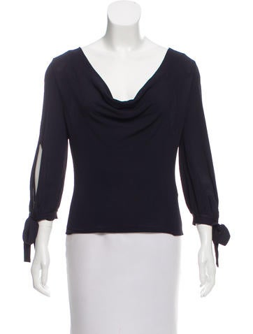 Valentino Long Sleeve Cowl Neck Top None