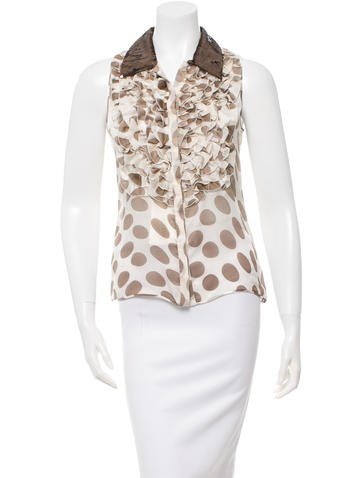 Valentino Sequin-Embellished Silk Top w/ Tags None