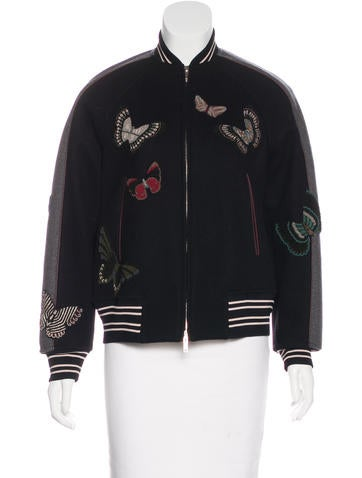 Valentino 2016 Virgin Wool Bomber Jacket None