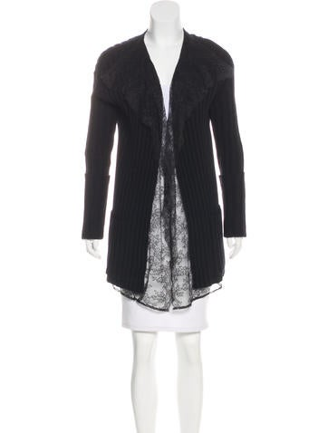 Valentino Wool & Cashmere Lace-Trimmed Cardigan None